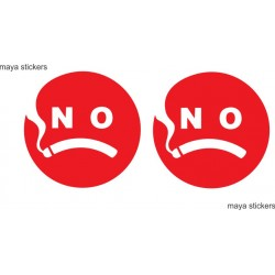 No smoking sign with creative design. Pair of 2 stickers